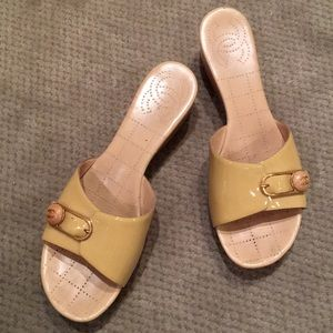 Chanel patent leather wood wedge sandal